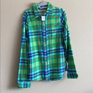 Hollister Green and Blue Plaid Flannel Shirt